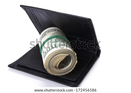 leather wallet with money, isolated on white background, selective focus - stock photo