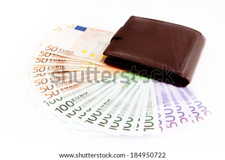 leather wallets and European Currency, euro ( 50, 100, 500 ) - stock photo