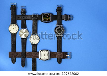 Leather watches - stock photo