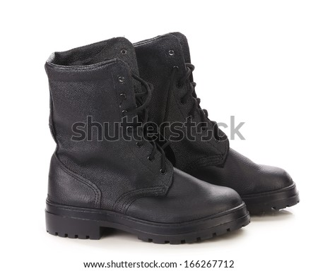 Leather winter black boots.