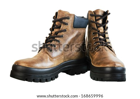 Leather winter boot. Isolated on a white background - stock photo