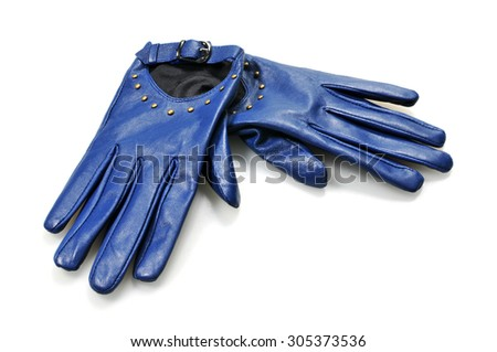 leather women's gloves on white background