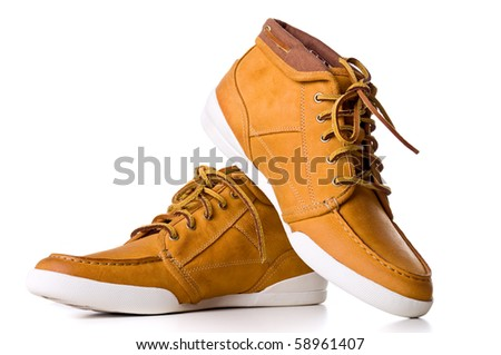 Leather yellow boot