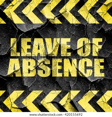 leave of absence, black and yellow rough hazard stripes - stock photo
