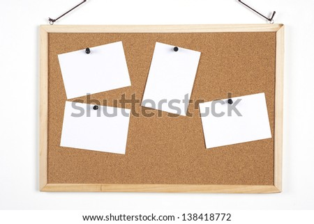 leave your messages or inform on blank paper at cork board - stock photo