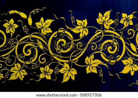 Leaves in Traditional Thai style pattern decorative isolate on black, Thailand.
