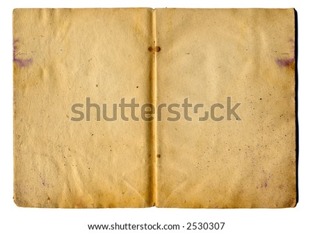 leaves of old school notebook on a white background - stock photo