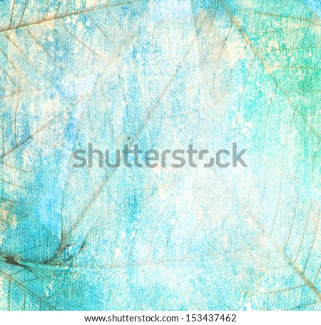 leaves of trees Grunge blue background vintage abstract rusty colored background - stock photo