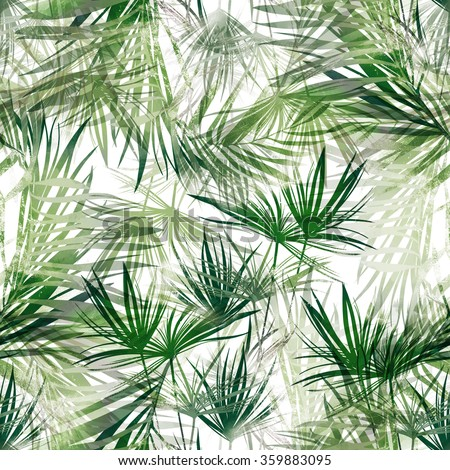 leaves tropical plants hand painted seamless stock