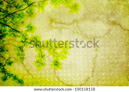 leaves on an old pape background