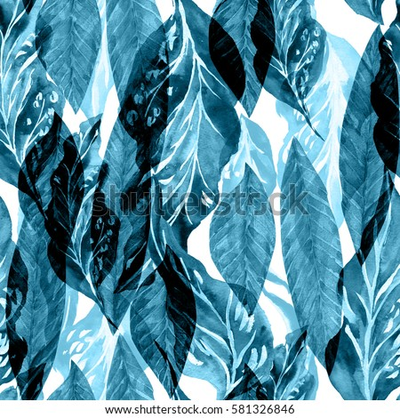Tropical flowers watercolor pattern exotic leaves stock for Colour trend wallpaper