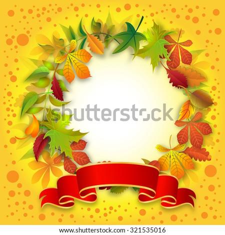 Leaves - round shape arranged on white background - stock photo