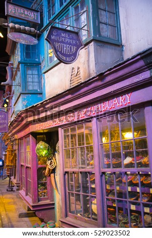 Leavesden, London, UK - 1 March 2016: Magic shops display windows in Diagon Alley from Harry Potter film. Warner Brothers Studio
