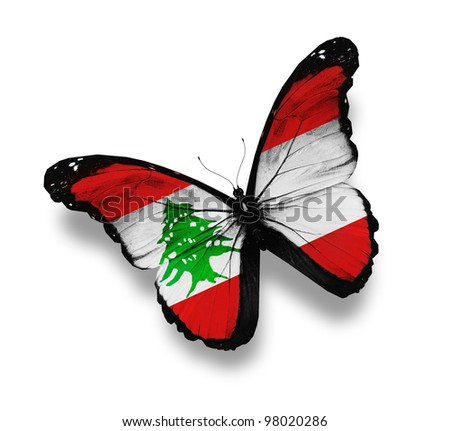 Lebanese flag butterfly, isolated on white - stock photo
