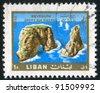 LEBANON - CIRCA 1966: A stamp printed by Lebanon, shows Pigeon Rocks, circa 1966 - stock photo