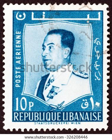 LEBANON - CIRCA 1960: A stamp printed in Lebanon shows President Fuad Chehab, circa 1960.  - stock photo