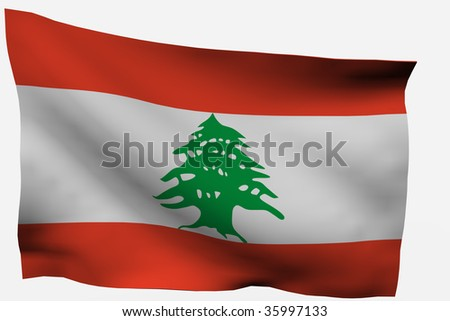 Lebanon 3d flag isolated on white background