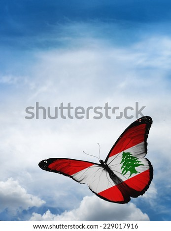 Lebanon flag butterfly flying on sky background - stock photo