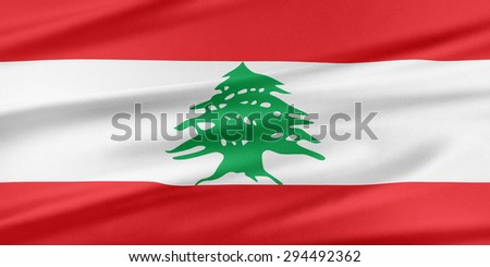 Lebanon Flag. Flag with a beautiful glossy silk texture.