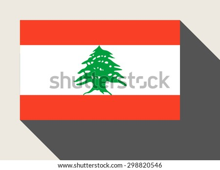 Lebanon flag in flat web design style. - stock photo