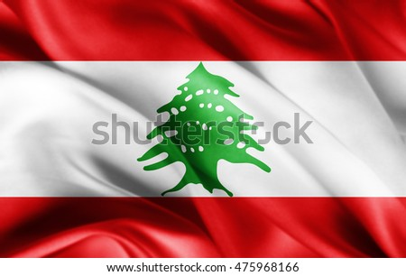 Lebanon flag of silk with copyspace for your text or images-3D illustration