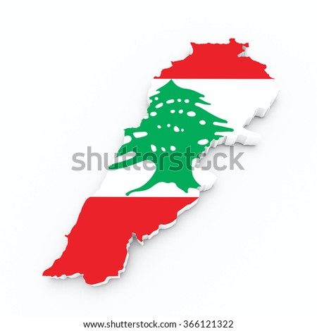 lebanon flag on 3d map - stock photo