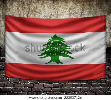 Lebanon  flag on old wall - stock photo