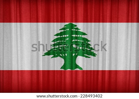 Lebanon flag pattern on the fabric curtain,vintage style