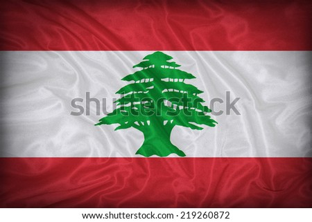 Lebanon flag pattern on the fabric texture ,vintage style - stock photo