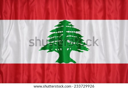 Lebanon flag pattern on the fabric texture , vintage style - stock photo