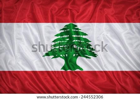 Lebanon flag pattern on the fabric texture ,vintage style - stock photo