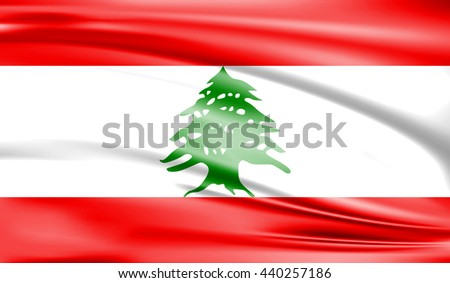 Lebanon national flag background texture of silk - stock photo
