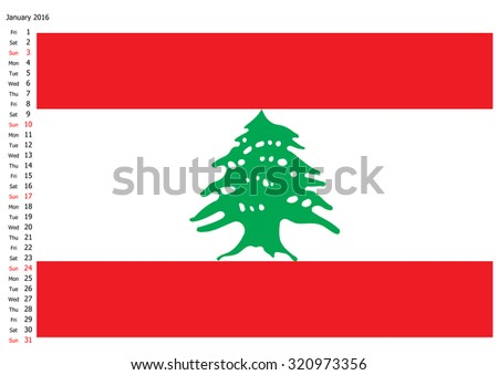 Lebanon national flag, 2016 calendar, January - stock photo