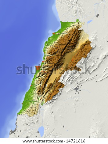 Lebanon. Shaded relief map with major urban areas. Surrounding territory greyed out. Colored according to elevation. Includes clip path for the state area. Data source: NASA - stock photo