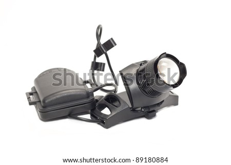 LED a flashlight is black isolated on a white background