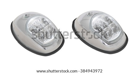 LED boat navigation lights in white plastic housing isolated on white