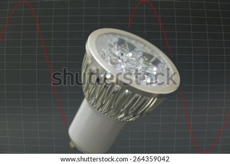LED bulb in black background - stock photo