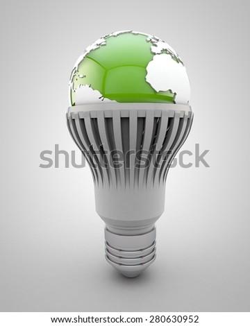 Led bulb with a green world globe symbolizing ecology - stock photo