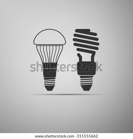 LED bulbs and fluorescent light bulb icon. - stock photo