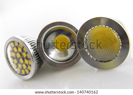 LED bulbs with different chips thus three to six chips on one and various slides - stock photo