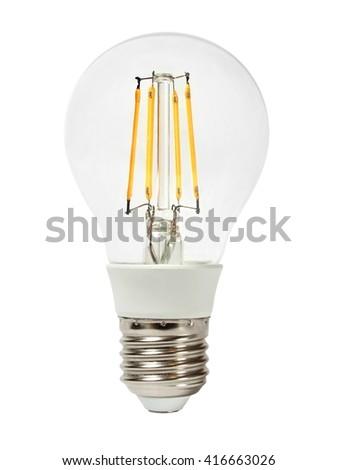 LED filament bulb isolated on white background - stock photo