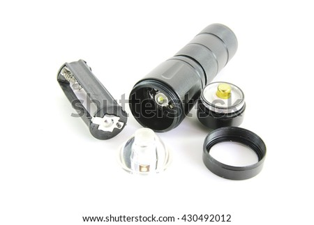 LED flashlight on white background