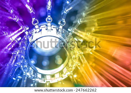 led lamp blue light blur science and technology background - stock photo