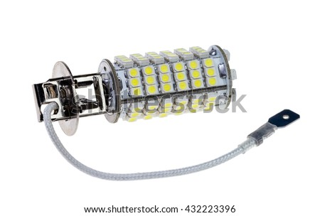 Led lamp for auto isolated on the white background - stock photo
