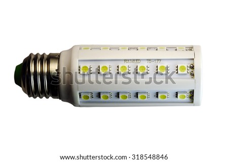 LED lamp isolated on a white  background  with clipping path. Closeup with no shadows.  8 watts.  Energy-saving technology. The lamp with a conventional socket.  - stock photo