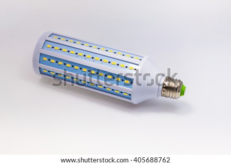 LED lamp on white background with clipping path. Energy-saving technology. The lamp with a conventional socket - stock photo