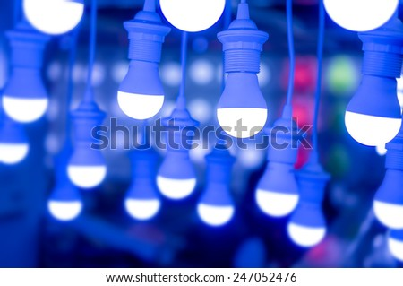 led lamps saving energy / saving electricity - stock photo