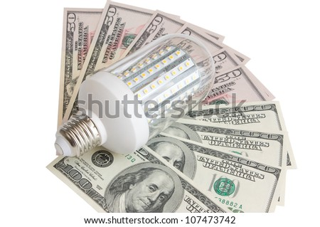 Led light  and dollars - stock photo