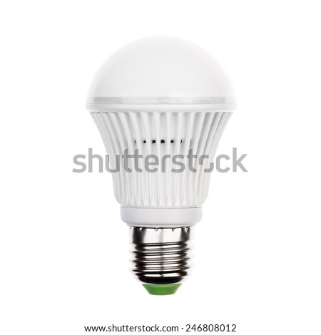LED light bulb (lamp) with e27 socket Isolated on white - stock photo