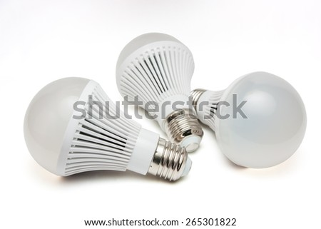 LED light bulbs on a white background. - stock photo